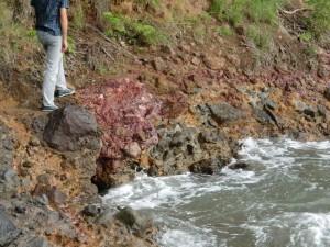 Alteración hidrotérmica al este de la playa de Rocroy